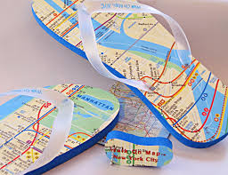 Subway map on flip flops shows you how to find your way to Out by Ten, for music and storytellers.