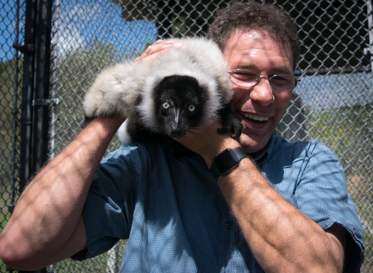The lemur with Mitch Traphagen, photographer.