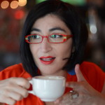 At Out by 10, Negin Farsad is coffee-charged.