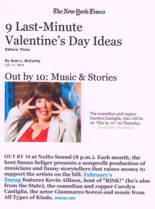 The New York Times features Out by 10 as an Editor's Pick in the New York Times -- the 4th time featured.