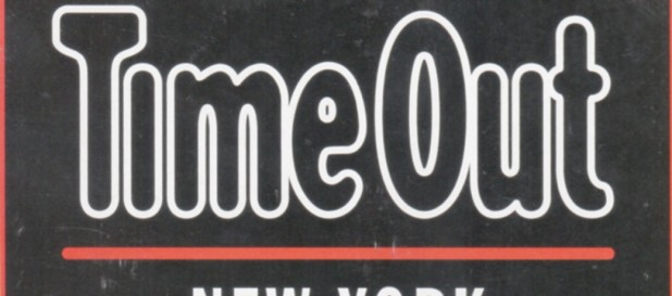 Time Out's logo in color from the magazine, when it said great things about Out by 10.